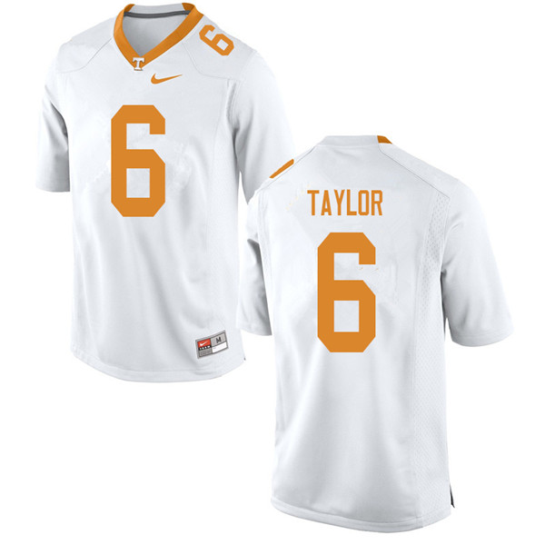 Men #6 Alontae Taylor Tennessee Volunteers College Football Jerseys Sale-White