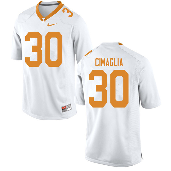 Men #30 Brent Cimaglia Tennessee Volunteers College Football Jerseys Sale-White