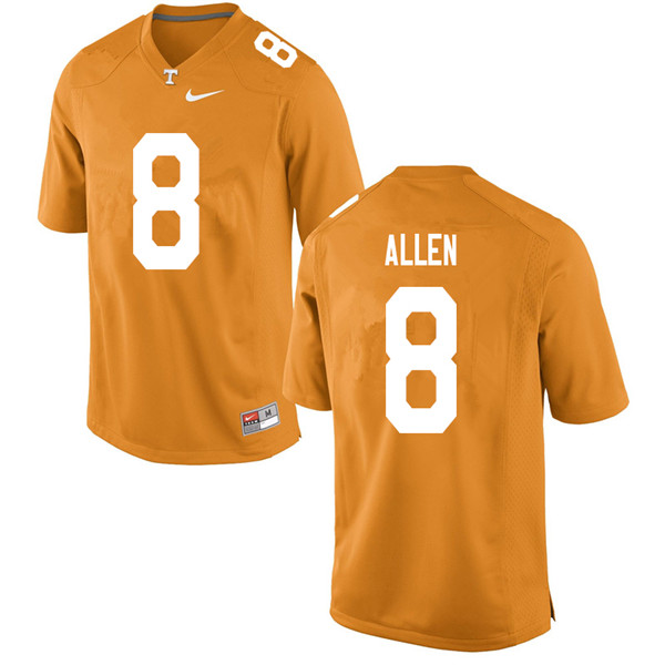 Men #8 Jordan Allen Tennessee Volunteers College Football Jerseys Sale-Orange