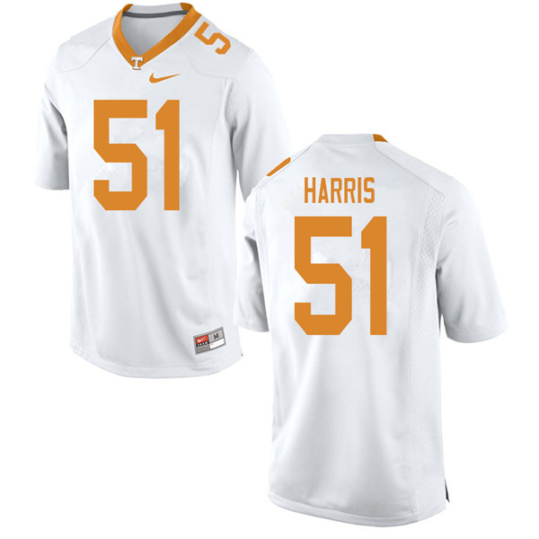 Men #51 Kingston Harris Tennessee Volunteers College Football Jerseys Sale-White