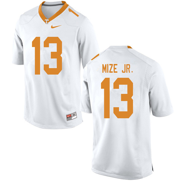 Men #13 Richard Mize Jr. Tennessee Volunteers College Football Jerseys Sale-White