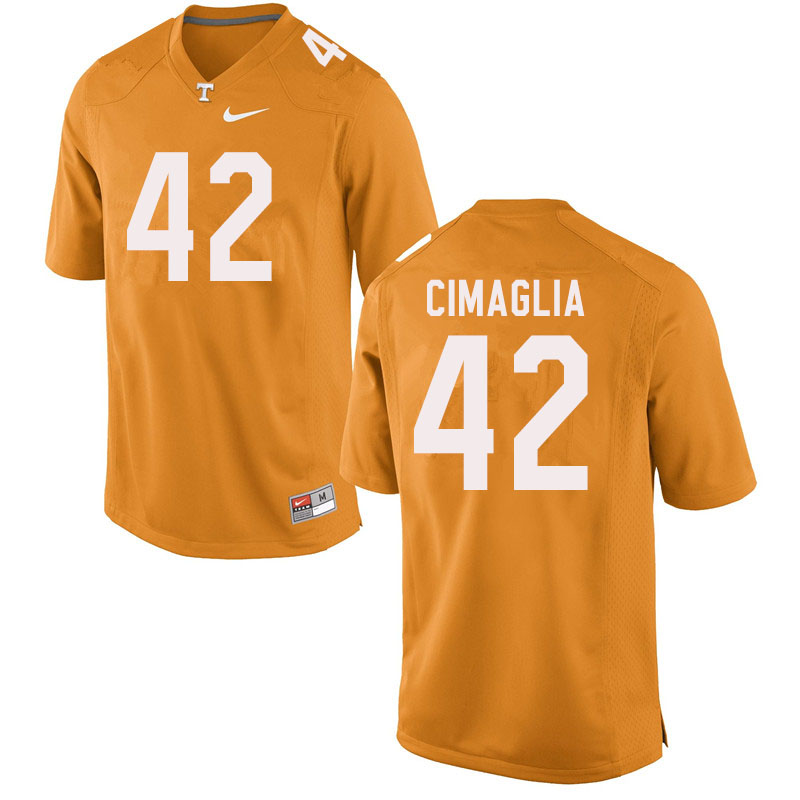 Men #42 Brent Cimaglia Tennessee Volunteers College Football Jerseys Sale-Orange