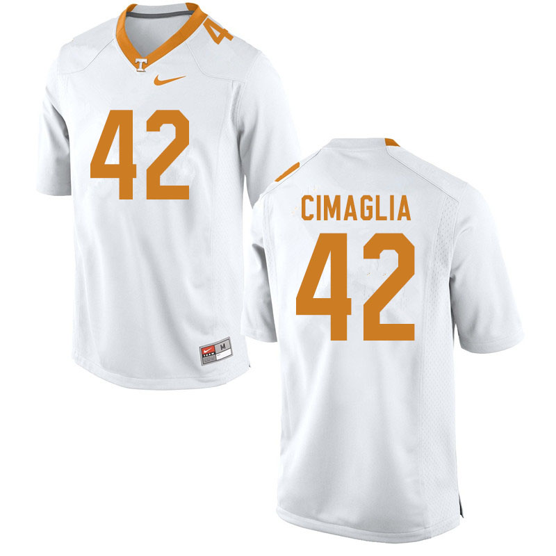 Men #42 Brent Cimaglia Tennessee Volunteers College Football Jerseys Sale-White