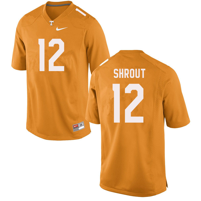 Men #12 J.T. Shrout Tennessee Volunteers College Football Jerseys Sale-Orange