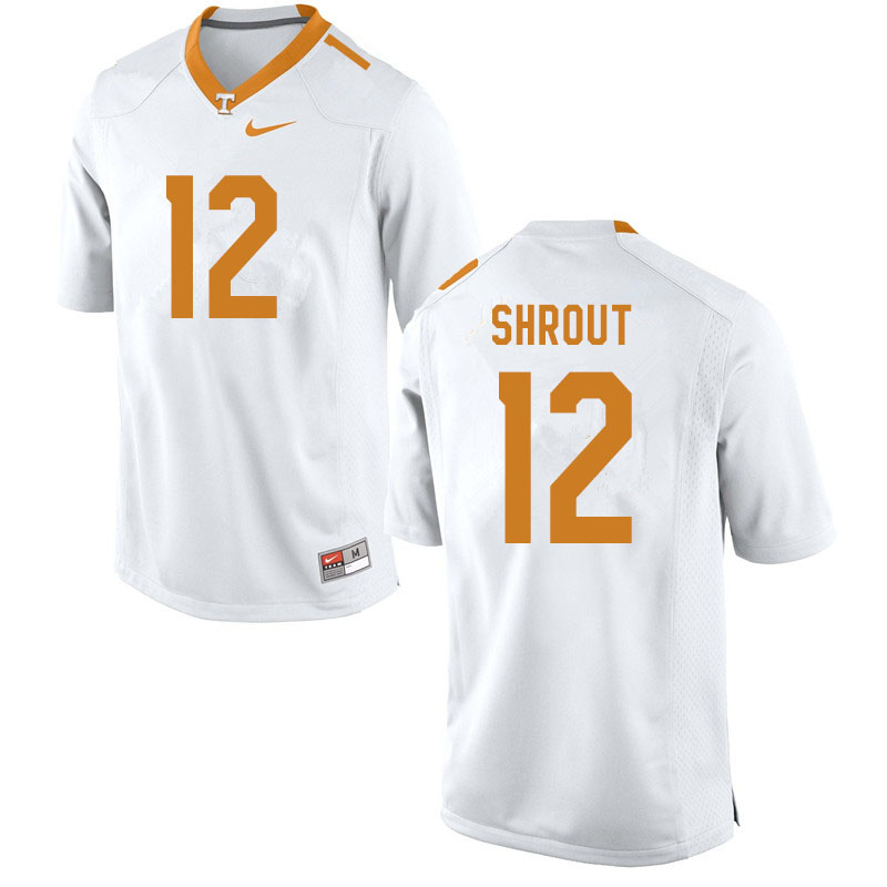 Men #12 J.T. Shrout Tennessee Volunteers College Football Jerseys Sale-White
