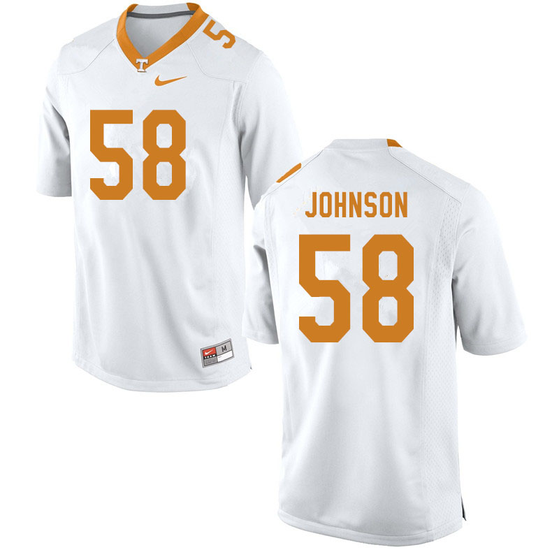 Men #58 Jahmir Johnson Tennessee Volunteers College Football Jerseys Sale-White