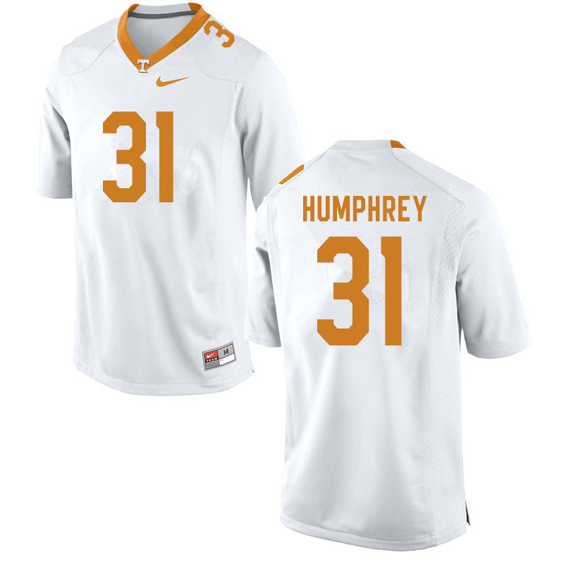 Men #31 Nick Humphrey Tennessee Volunteers College Football Jerseys Sale-White
