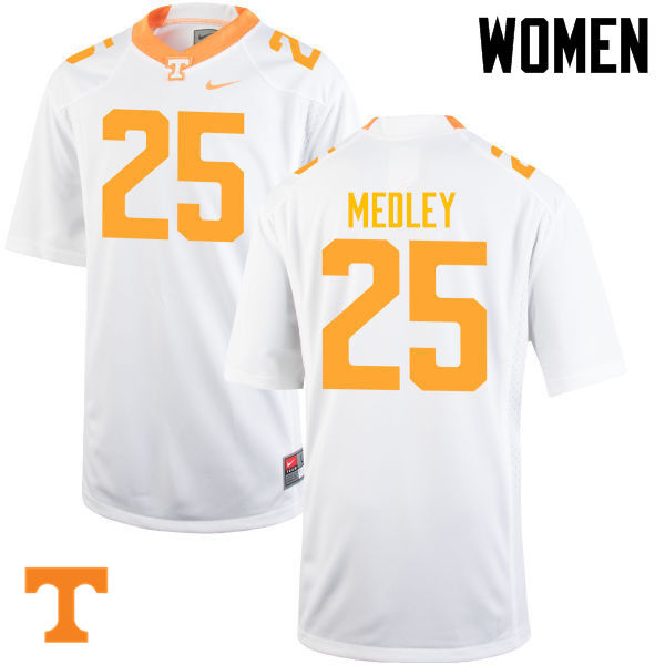 Women #25 Aaron Medley Tennessee Volunteers College Football Jerseys-White