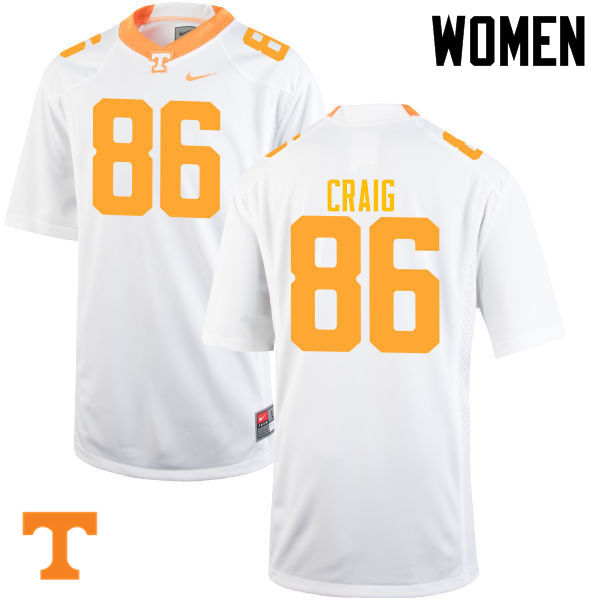 Women #86 Andrew Craig Tennessee Volunteers College Football Jerseys-White