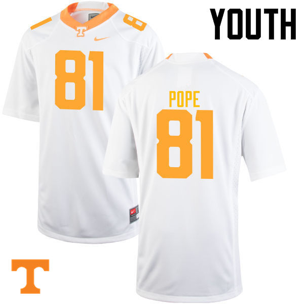 Youth #81 Austin Pope Tennessee Volunteers College Football Jerseys-White