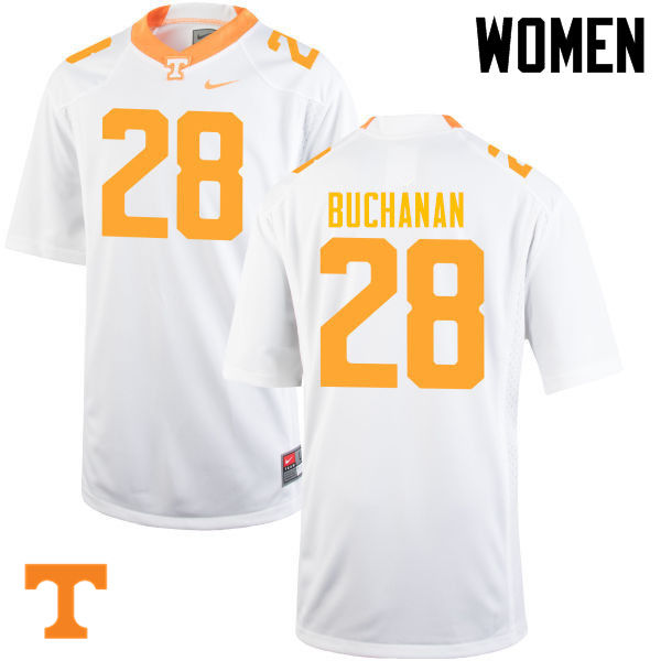 Women #28 Baylen Buchanan Tennessee Volunteers College Football Jerseys-White