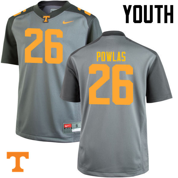 Youth #26 Ben Powlas Tennessee Volunteers College Football Jerseys-Gray