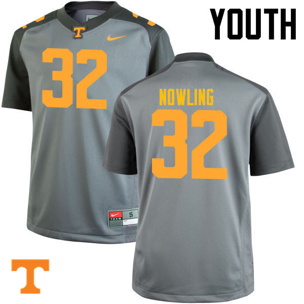 Youth #32 Billy Nowling Tennessee Volunteers College Football Jerseys-Gray