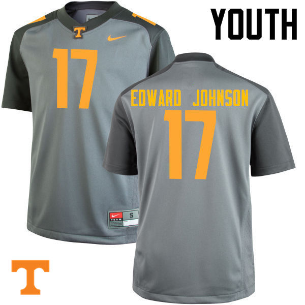 Youth #17 Brandon Edward Johnson Tennessee Volunteers College Football Jerseys-Gray