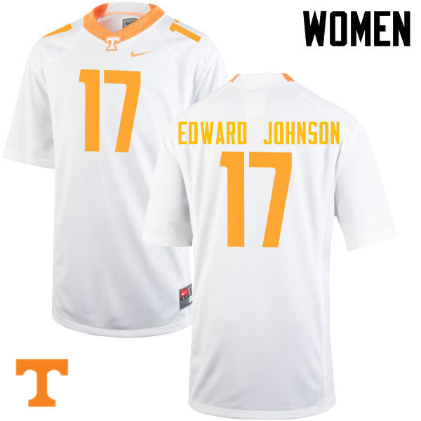 Women #17 Brandon Edward Johnson Tennessee Volunteers College Football Jerseys-White