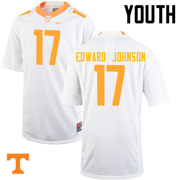 Youth #17 Brandon Edward Johnson Tennessee Volunteers College Football Jerseys-White