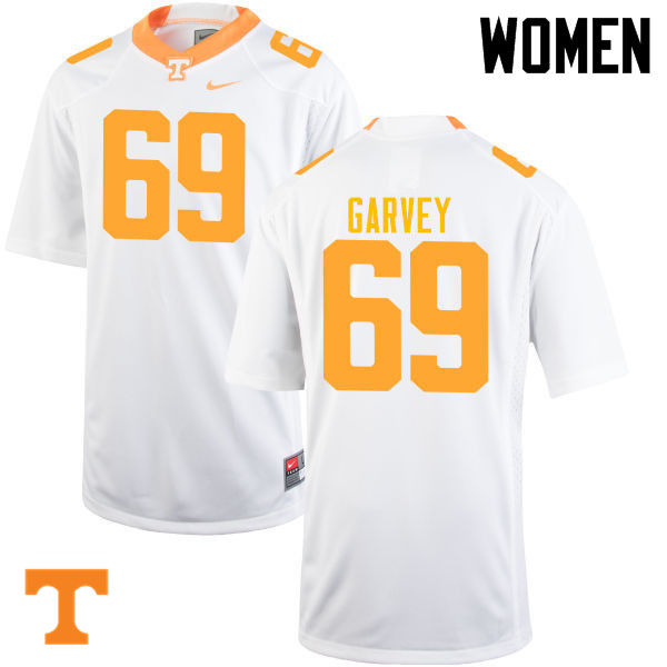 Women #69 Brian Garvey Tennessee Volunteers College Football Jerseys-White