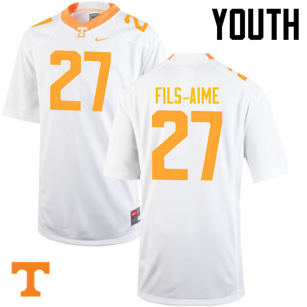 Youth #27 Carlin Fils-Aime Tennessee Volunteers College Football Jerseys-White