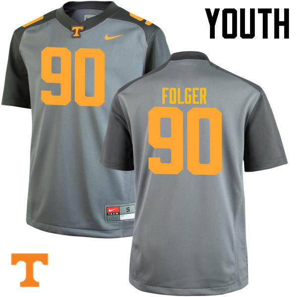 Youth #90 Charles Folger Tennessee Volunteers College Football Jerseys-Gray