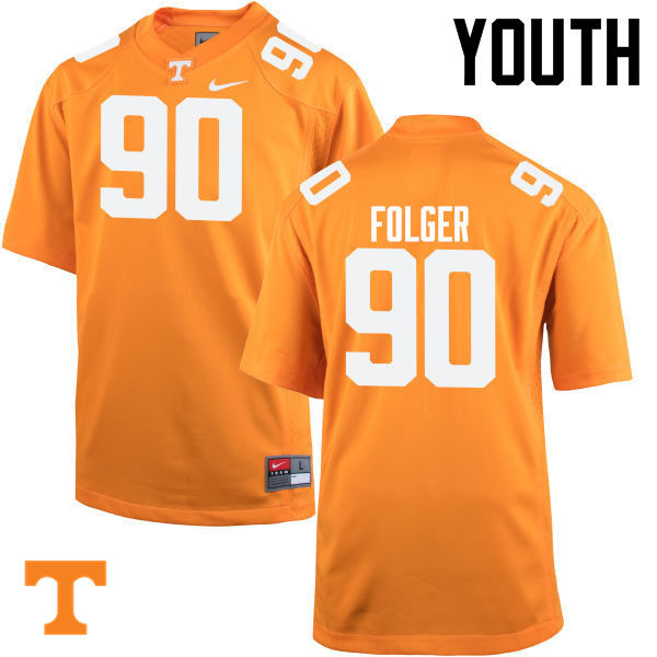Youth #90 Charles Folger Tennessee Volunteers College Football Jerseys-Orange