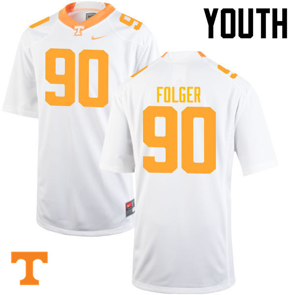 Youth #90 Charles Folger Tennessee Volunteers College Football Jerseys-White
