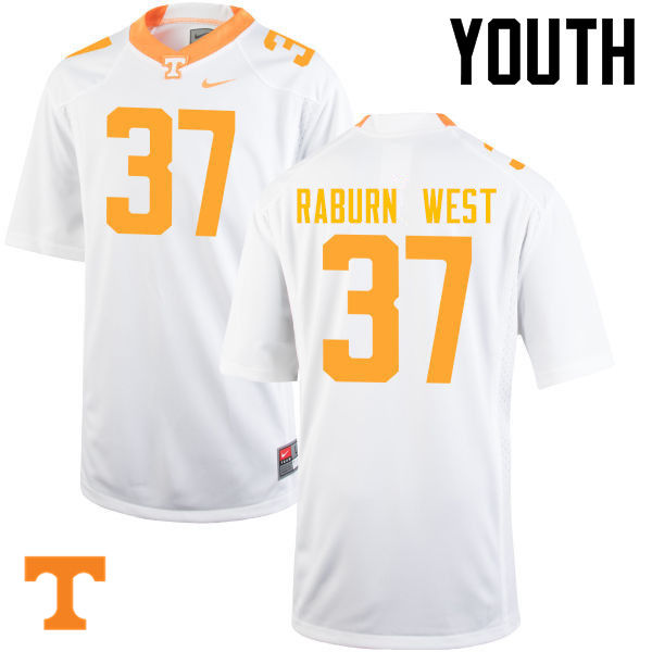 Youth #37 Charles Raburn West Tennessee Volunteers College Football Jerseys-White