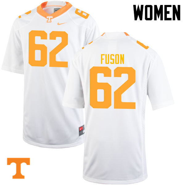 Women #62 Clyde Fuson Tennessee Volunteers College Football Jerseys-White
