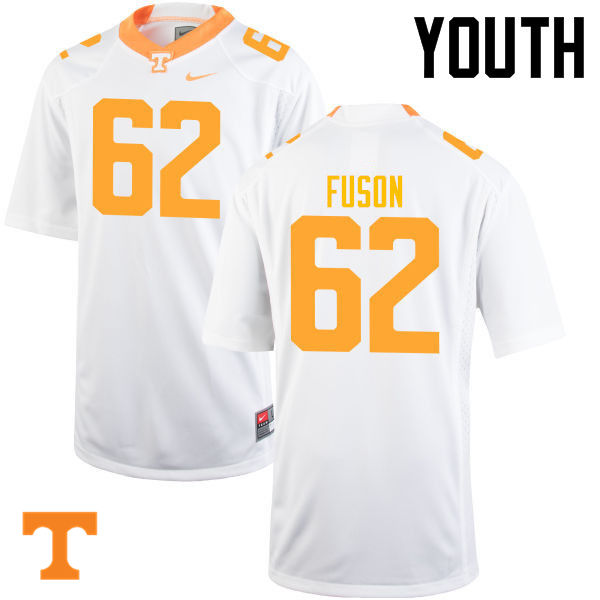 Youth #62 Clyde Fuson Tennessee Volunteers College Football Jerseys-White