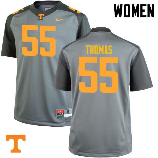 Women #55 Coleman Thomas Tennessee Volunteers College Football Jerseys-Gray