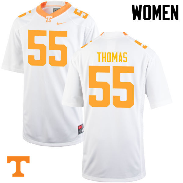 Women #55 Coleman Thomas Tennessee Volunteers College Football Jerseys-White