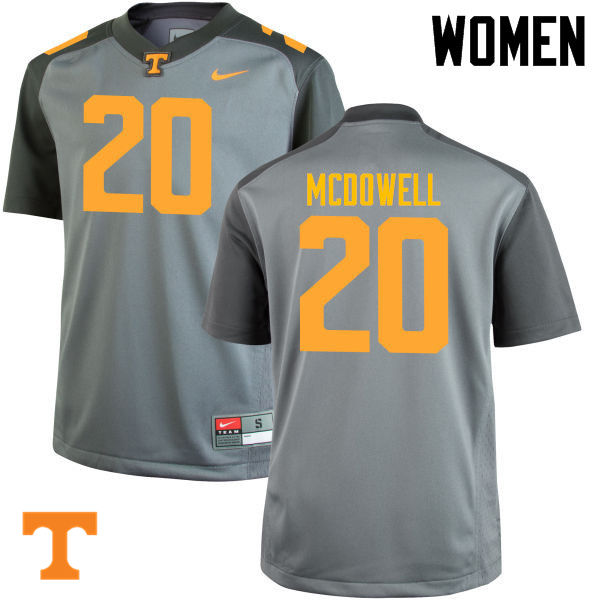 Women #20 Cortez McDowell Tennessee Volunteers College Football Jerseys-Gray