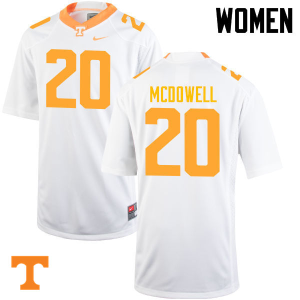 Women #20 Cortez McDowell Tennessee Volunteers College Football Jerseys-White