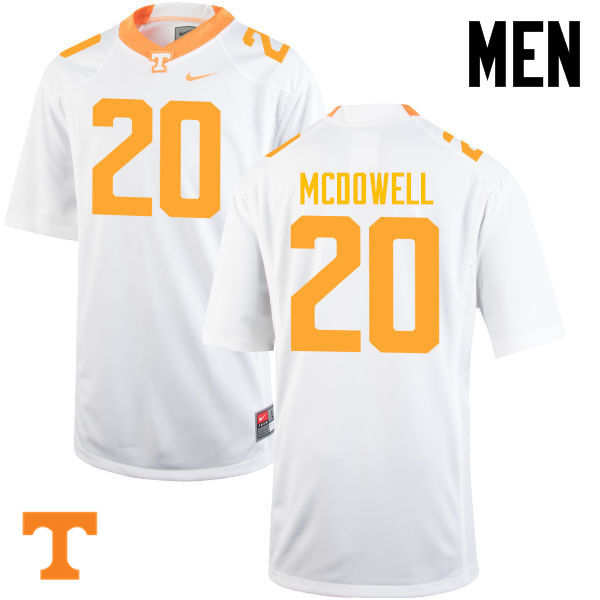 Men #20 Cortez McDowell Tennessee Volunteers College Football Jerseys-White