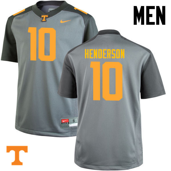 Men #10 D.J. Henderson Tennessee Volunteers College Football Jerseys-Gray