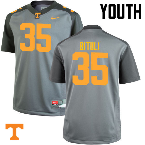 Youth #35 Daniel Bituli Tennessee Volunteers College Football Jerseys-Gray