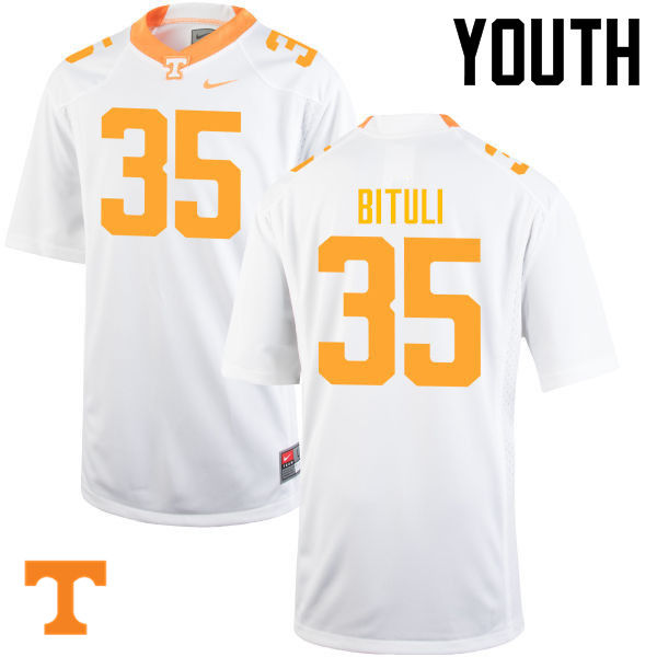 Youth #35 Daniel Bituli Tennessee Volunteers College Football Jerseys-White