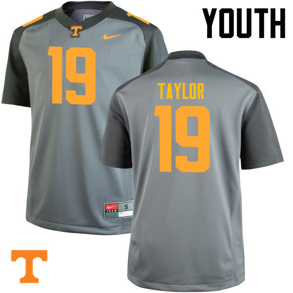 Youth #19 Darrell Taylor Tennessee Volunteers College Football Jerseys-Gray