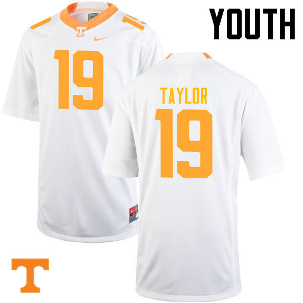 Youth #19 Darrell Taylor Tennessee Volunteers College Football Jerseys-White