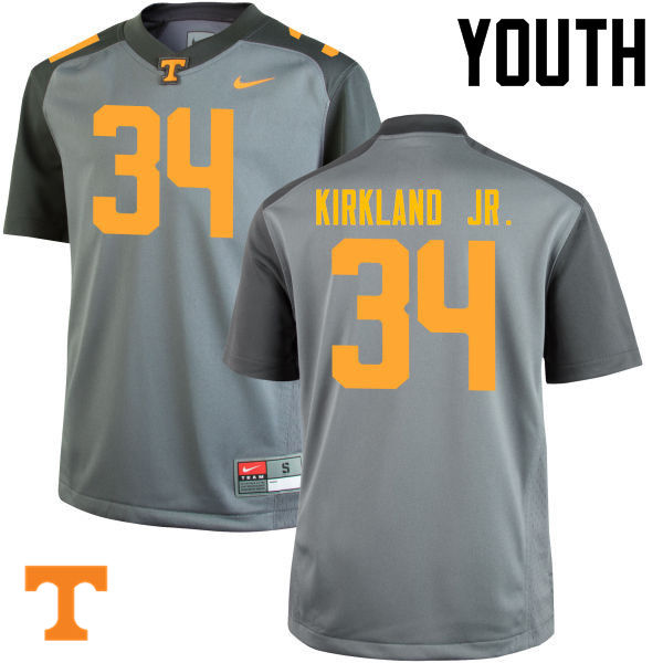 Youth #34 Darrin Kirkland Jr. Tennessee Volunteers College Football Jerseys-Gray