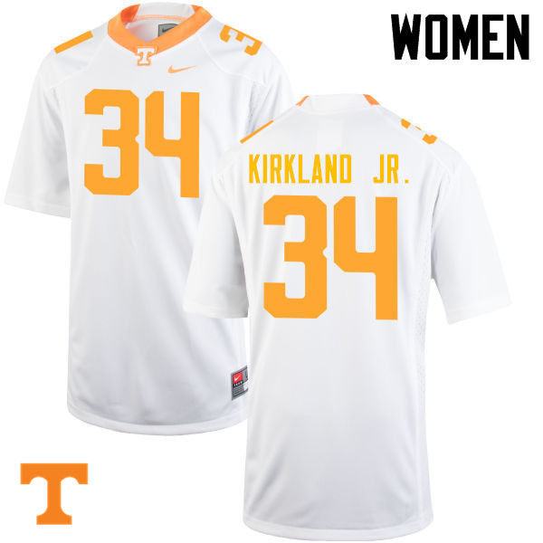 Women #34 Darrin Kirkland Jr. Tennessee Volunteers College Football Jerseys-White
