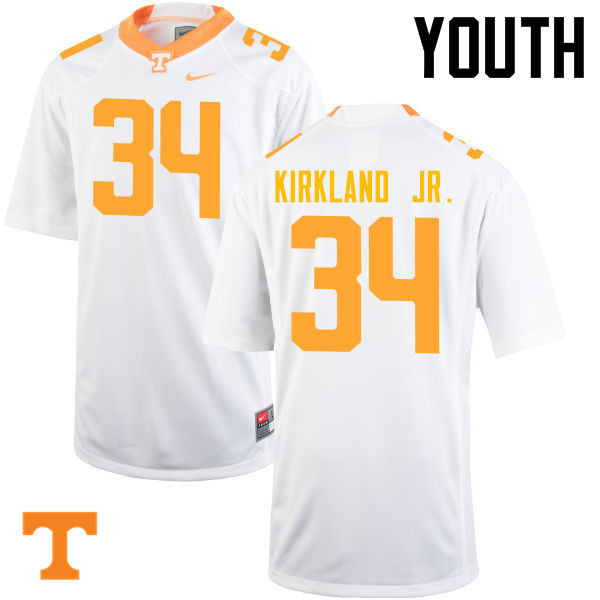Youth #34 Darrin Kirkland Jr. Tennessee Volunteers College Football Jerseys-White