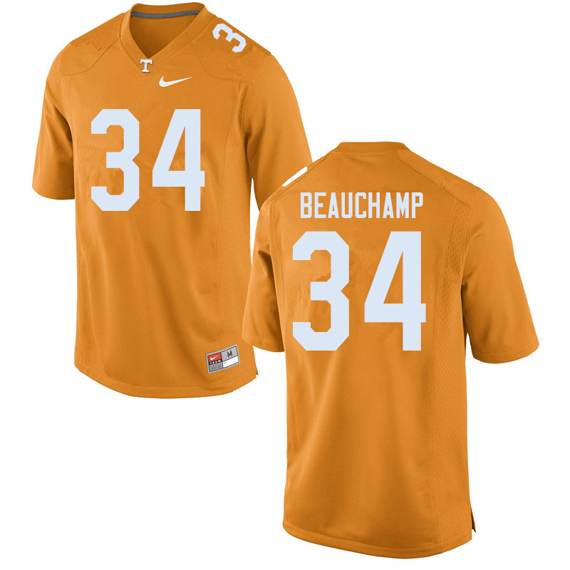 Men #34 Deontae Beauchamp Tennessee Volunteers College Football Jerseys Sale-Orange
