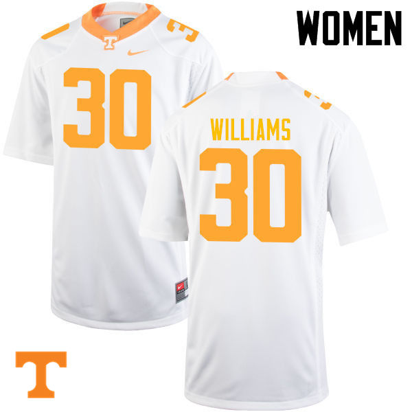 Women #30 Devin Williams Tennessee Volunteers College Football Jerseys-White