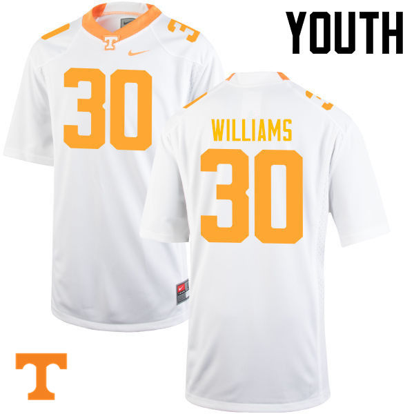 Youth #30 Devin Williams Tennessee Volunteers College Football Jerseys-White
