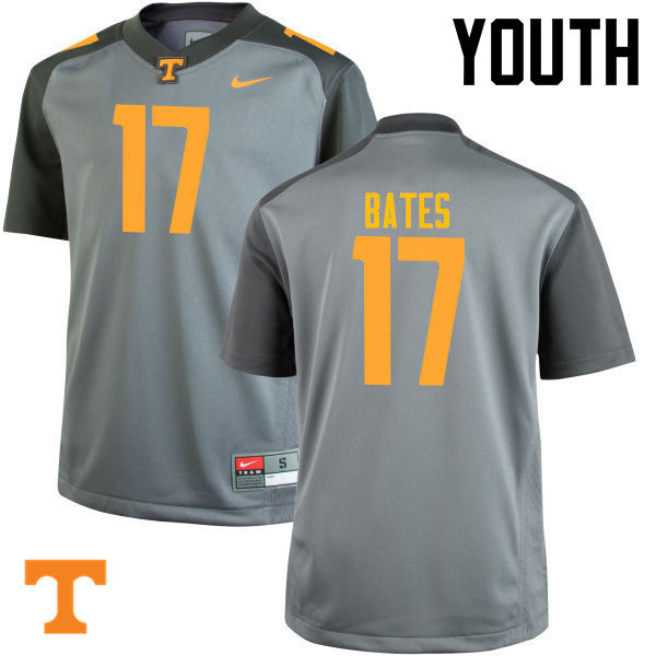 Youth #17 Dillon Bates Tennessee Volunteers College Football Jerseys-Gray