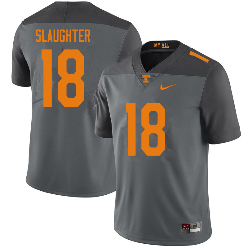 Men #18 Doneiko Slaughter Tennessee Volunteers College Football Jerseys Sale-Gray