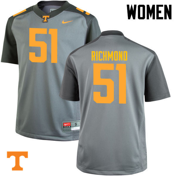 Women #51 Drew Richmond Tennessee Volunteers College Football Jerseys-Gray