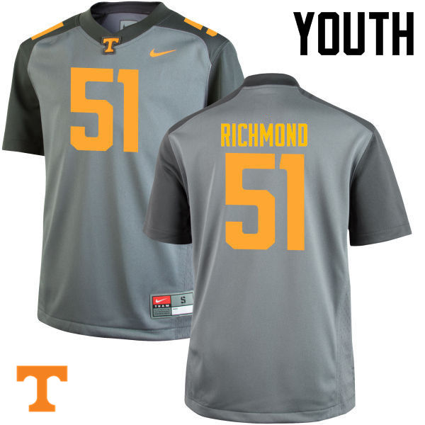 Youth #51 Drew Richmond Tennessee Volunteers College Football Jerseys-Gray