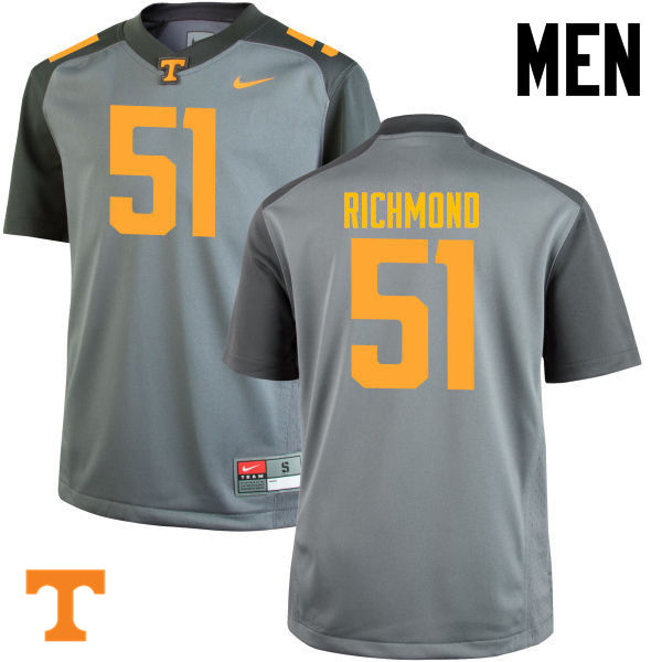 Men #51 Drew Richmond Tennessee Volunteers College Football Jerseys-Gray