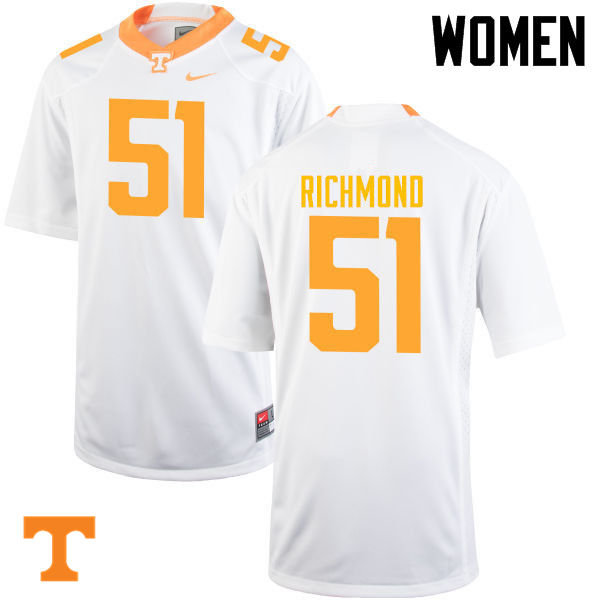 Women #51 Drew Richmond Tennessee Volunteers College Football Jerseys-White